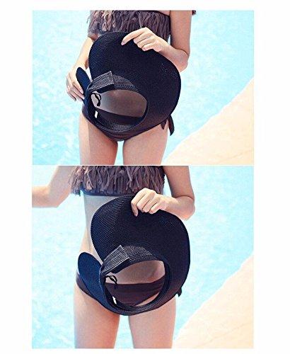 Fashion Women Lady Foldable Roll Up Sun Beach Wide Brim Straw Black