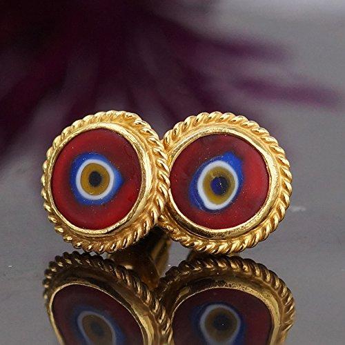 (Turkish Evil Eye Designer Stud Earrings By Omer 24k Yellow Gold Sterling Silver)