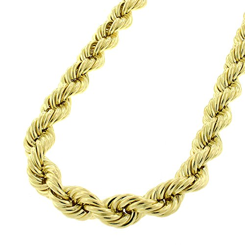 10k Yellow Gold Mens Womens Hollow Rope Chain Necklace 6mm 24