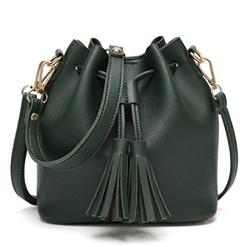 Cuir Messenger Sac à téléphone Portable Sac Handbag Main A à Seau Noir Boucle bandoulière Gland Bag magnétique Femme PU Poche Green Ouverte Sac Sac RqwX4C