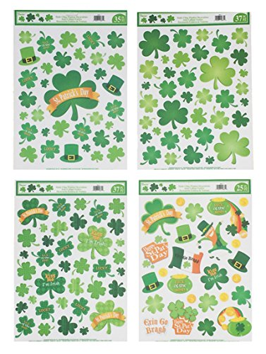 Holiday Designs St Patrick's Day Window Cling Decorations - 4 Large Sheet Sets featuring Shamrocks, Leprechauns, Rainbows, Pot of Gold and other Irish -