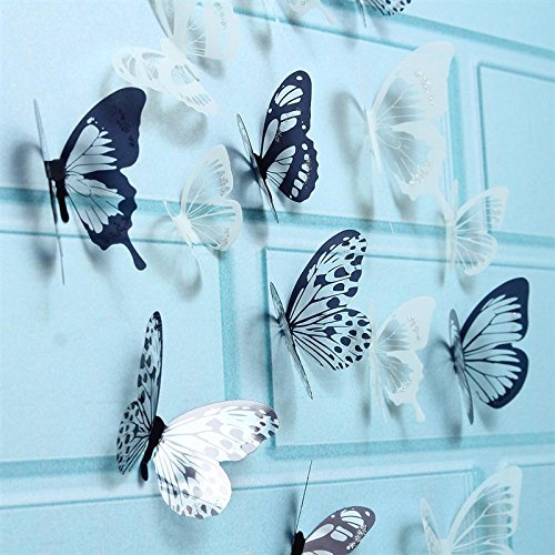 Decorative Butterflies Stickers - Xiaolanwelc@ 18pcs/lot 3D Adhensive Butterfly Wall Sticker Decorative Glowing For Kids Room Decors Home Decoration Art Wall Decals Mural PVC