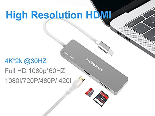 INNOMAX 10-IN-1 Powered USB C Hub Adapter with 4K HDMI, 6 USB 3.0 Ports,Card Readers,External Power for 2018/2017/2016 New MacBook Pro and Windows Powered PC with Type-C-Gray by INNOMAX (Image #3)