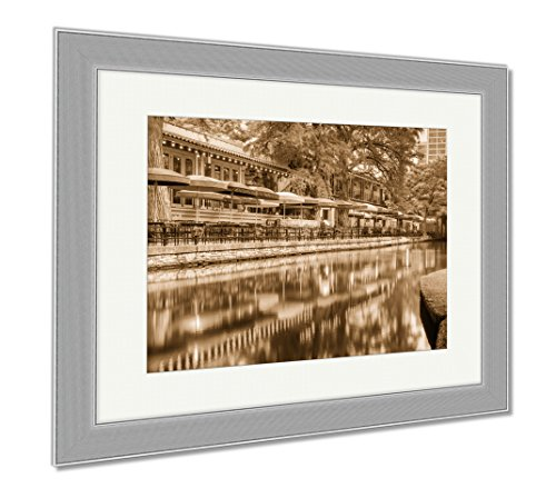 Ashley Framed Prints San Antonio Riverwalk, Wall Art Home Decoration, Sepia, 34x40 (frame size), Silver Frame, - San Shops Riverwalk Antonio
