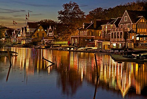 Philadelphia Boat House Row At Night Canvas Art Print (12x14)