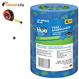 Toucan City Tape Measure and 3M ScotchBlue 1.41 in. x 60 yds. Trim and Baseboards Painter's Tape with Edge-Lock (4-Pack) 2093EL-36CVP