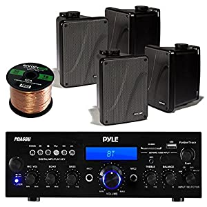 "Amp And Speaker Combo Packge: Pyle PDA6BU Bluetooth Radio USB AUX Amplifier Stereo Receiver Bundle With 4x Kicker KB6000B 6.5"" Full Range Bookshelf Waterproof Speaker + 2x Enrock 50ft 16g Speaker Wire"