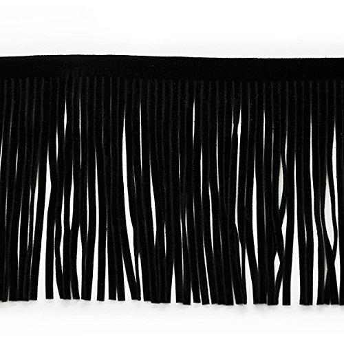 Suede Embellishments - Expo International 4-Inch Faux Suede Fringe Trim Embellishment, 10-Yard, Black