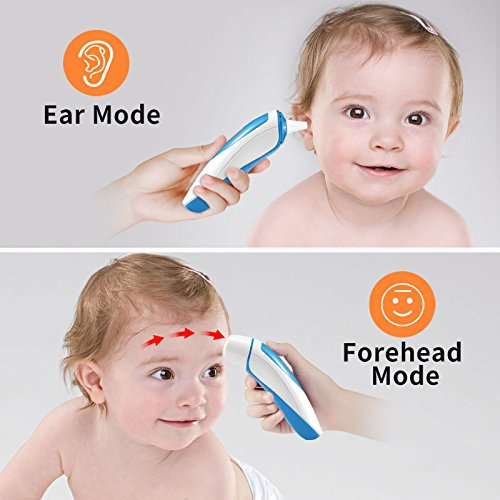 Large Product Image of ANKOVO Thermometer for Fever Digital Medical Infrared Forehead and Ear Thermometer for Baby,Kids and Adults with Fever Indicator CE and FDA Approved