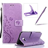 Wallet Leather Case for Galaxy J5 2017,Book Style Pu Leather Case for Galaxy J5 2017,Herzzer Retro Butterfly Flower Pattern Flip Fold Pouch Case with Card Holders Stand Magnetic Case