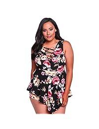 50890b79f25 Paymenow Women Floral Jumpsuit Plus Size Crisscross Waist Jumpsuit Rompers