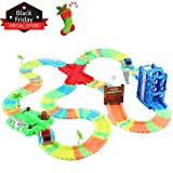 Flexible Glow-in-the-Dark Tracks Toy Set with 1 LED Light Up Race Car Christmas Gifts for 2, 3 Years Old Boys and Up