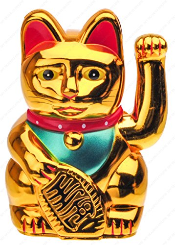 M.V. Trading Battery Operated Feng Shui Lucky Cat Gold with Waving Arm, 5-Inches (High)