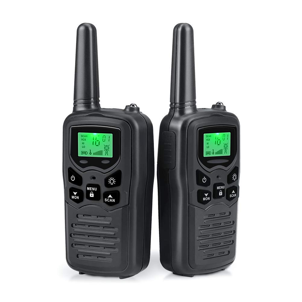 Walkie Talkies Long Range for Adults Two-Way Radios Up to 5 Miles in Open Fields 22 Channels FRS/GMRS VOX Scan LCD Display with LED Flashlight Ideal for Field, Survival Biking Hiking Camping(Black) by MOICO