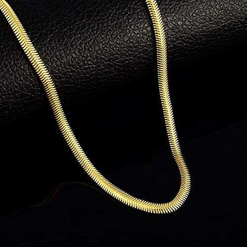Gold Color 4Mm Snake Chains Necklaces For Men 24K Yellow Necklaces Men'S Jewelry High Quality Men Necklaces
