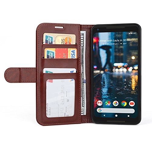 Vivefox 2017 Google Pixel 2 XL Wallet Case, Leather Kickstand Flip Cover + Side Pocket, Magnetic Stand Folio Case with Card Slots for Pixel 2XL 6.0
