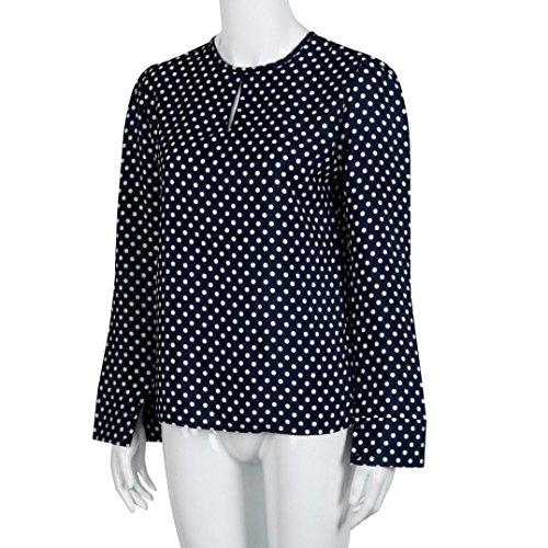 Sunnywill Casual Langarm Blusen Sommer Chiffon Tupfen Shirt Tops für Mädchen Damen