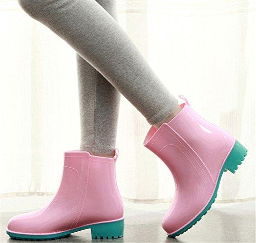 Rain Stylish top Waterproof Pink High Women Boots Modern Footwear Antiskid Rain qxFX6wrx4