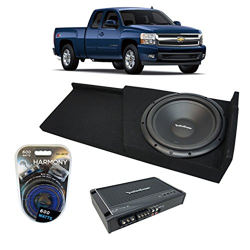 Fits 2007-2013 Chevy Silverado Ext Cab Truck Rockford Prime R1S412 Single 12 Sub Box Enclosure & R150X2 Amp
