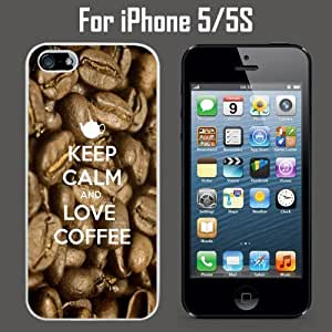 Keep Calm Love Coffee Custom Case/ Cover/Skin *NEW* Case for Apple iPhone 5/5S - White - Rubber Case (Ships from CA) Custom Protective Case , Design Case-ATT Verizon T-mobile Sprint ,Friendly Packaging - Slim Case hjbrhga1544