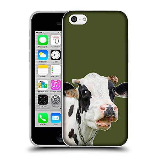 GoGoMobile Coque de Protection TPU Silicone Case pour // Q05710605 Vache curieuse Army Green // Apple iPhone 5C