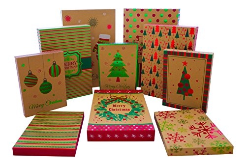 Christmas Gift Boxes – 10 Pack Kraft – High Quality Assortment Foil Kraft Gift Boxes Great for the Holidays – 3 Sizes (10)