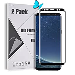 Galaxy S8 Plus Screen Protector, GreenElec [Full Coverage HD Film] [Ultra Thin] With [Anti-Bubble] [Case Friendly] [Anti-Scratch] for Samsung Galaxy S8+, Black, 2 Pack