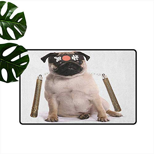 Pug,Entrance Door Mat Ninja Puppy with Nunchuk Karate