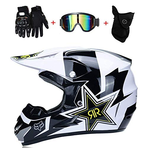 (TOKU Motocross Motorcycle Helmets & Windscreen & Gloves & Goggles D.O.T Standard Kids Quad Bike ATV Go-Kart Helmet Rock Star (S, M, L, XL), White, S55~56CM)