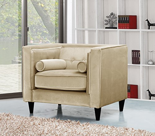 Arm Chair Custom Chairs (Meridian Furniture 642BE-C Taylor Button Tufted Velvet Upholstered Armchair with Square Arms, Custom Solid Wood Legs, and Included Bolster Pillows, Beige)