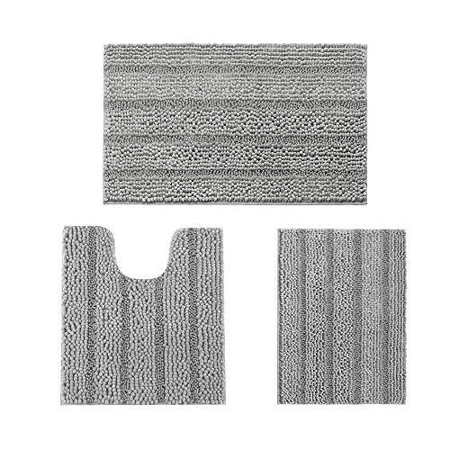 IM Home Striped Pale Gray Bathroom Rug Set 3 Pieces, Non Slip Chenille Bath Carpet, Absorbent Plush Shaggy Bath Mats for…