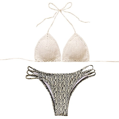 Lady Cute Micro Bathing Suit Crocodiling Pattern Crochet Push up Bikini Sets L