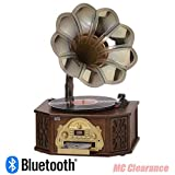 Nostalgia Gramophone Music Center 4-in-1 BT9840, 3 Speed Turntable, CD Player, Bluetooth, AM/FM Radio, USB Record, Dynamic Stereo Speaker
