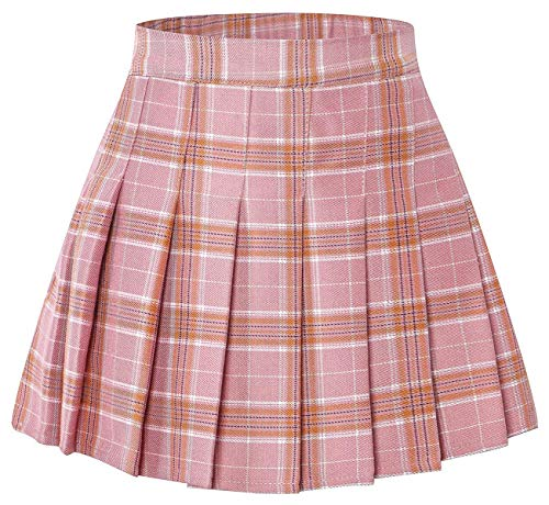 Toddler Little & Big Girls' Pleated School Uniform Plaid Short Skirt, Pink Plaid, 10-11 Years/Height 59.1