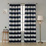 Deconovo Navy Blue Striped Blackout Curtains Rod Pocket Nautical Navy and Greyish White Striped Curtains for Kids Room 52W X 95L Navy Blue 2 Panels