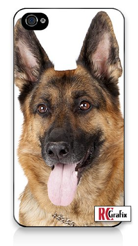 Beautiful Happy German Sheppard - Strong Shepherd Dog iPhone 4 Quality Hard Snap On Case for iPhone 4 4S 4G - AT&T Sprint Verizon - Black Frame