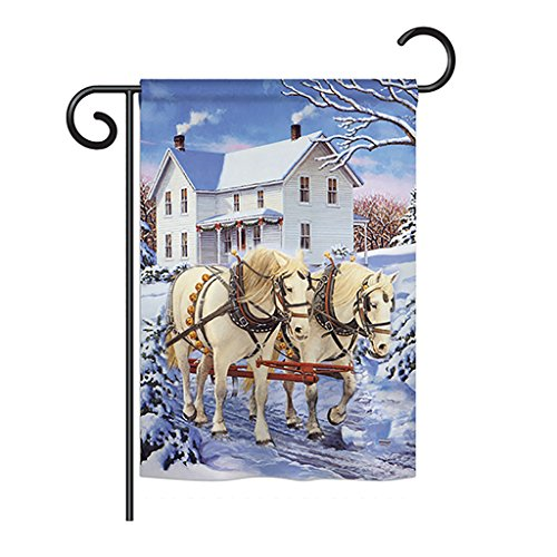 Cheap Ornament Collection GS191064-BO Winter Horses Winter Winter Wonderland Impressions Decorative Vertical 13″ x 18.5″ Double Sided Garden Flag Set with Banner Pole Included Printed in USA