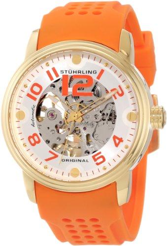 Stuhrling Original Men's 1070.3336F23 Classic Delphi Adonis Automatic Skeleton Orange Rubber Strap Watch, Watch Central