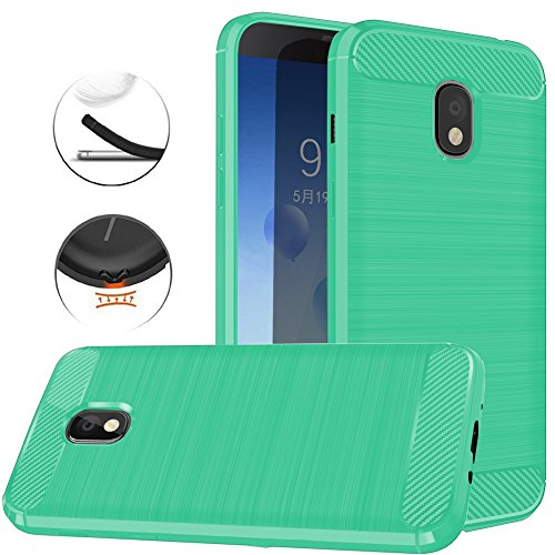 Samsung Galaxy J3 2018, J3V J3 V 3rd Gen,Express Prime 3, J3 Star, J3 Achieve, Amp Prime 3 Case, Dretal Carbon Fiber Brushed Texture Soft TPU Protective Cover (Mint)