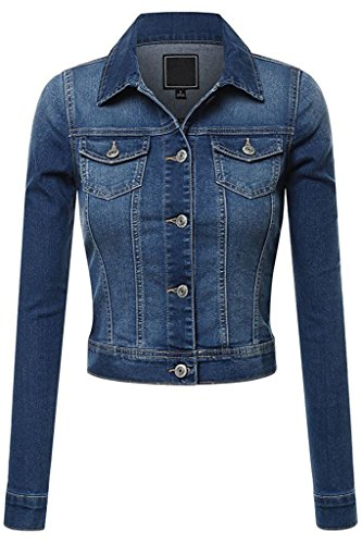 FASHION BOOMY Women's Button Down Long Sleeve Classic Outerwear Cropped Denim Jacket (Medium, Med_Denim)