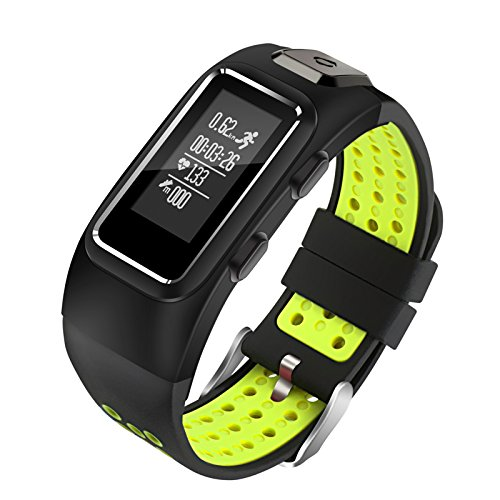 Diggro DB-10 Smart Bracelet Build-in GPS Tracker 20 Days Standby Time Four Sport Modes Heart Rate Monitor IP68 Waterproof Bluetooth 4.0 Calling Message Reminder for Android & iOS(Black+Green)