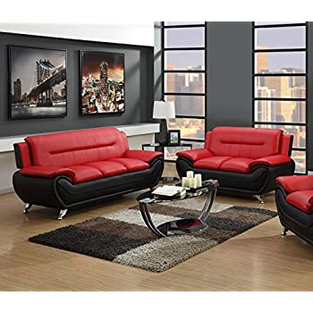 Amazon.Com: Us Pride Furniture 2 Piece Modern Bonded Leather Sofa
