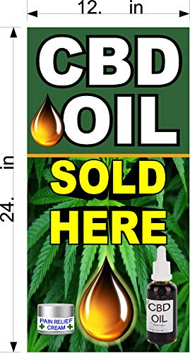 Vertical CBD Oil Sold HERE Store Front Window Sign (You Choose Size) Perforated Window Vinyl Decal (12