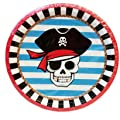 """Pirate Birthday Party Bundle for 12 Guests: (12) 9 oz. cups, (16) 9"""" Plates, (18) 7"""" Dessert Plates, (20) Luncheon Napkins, (20) Beverage Napkins, (1) Table Cover (54"""" x 96""""), (1) """" Happy Birthday"""" Letter Banner, (1) Set of 3 Hanging Decorations, (25) Cel"""