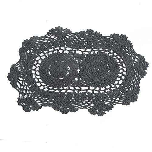 Factory Direct Craft 12'' Black Oval Cotton Hand Crocheted Lace Doilies, Set of 3 by Factory Direct Craft