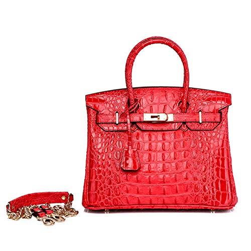 Padlock Cow Leather Crocodile Embossed Handbag for women clearance Gold - Embossed Handbag