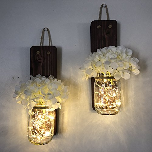 Tennessee Wicks Rustic Mason Jar Wall Sconce Set of Two, Complete with Two Hydrangeas and Two LED Fairy Light Strands - Country Cottage Decor