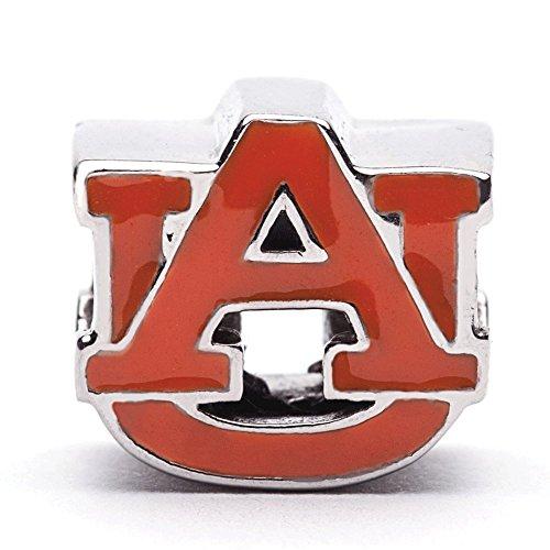 Auburn University Charm | Auburn University Orange Block AU Charm | Officially Licensed Auburn University Jewelry | Aubie Tiger | AU Charms | Auburn Jewelry | Auburn Tigers | Stainless Steel
