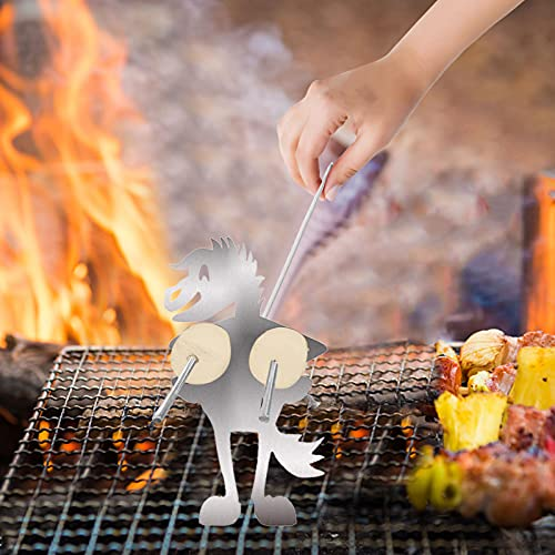 Ymibull Steel Hot Dog Roasters Stainless Steel Camp Fire Roasting Stick, Funny Metal Craft Skewer Stick, Barbecue Forks for Campfire,Bonfire and Grill (5PC Horse)
