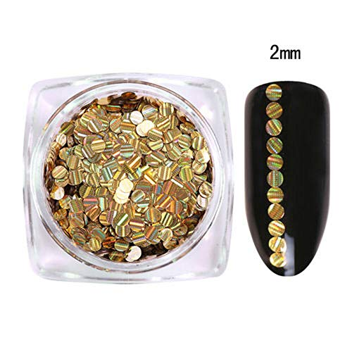 Shiny Holographic Laser Glitter Paillette Flakes Nail Sequins Decoration DIY (choose - gold(2mm))